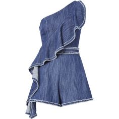 Blakely One Shoulder Denim Romper ($398) ❤ liked on Polyvore featuring jumpsuits, rompers, denim, denim romper, playsuit romper, one shoulder romper, blue romper and alexis romper