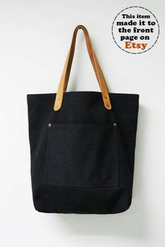 Leathinity - Black Canvas Tote Bag w/ Genuine Leather Handles - Eco Friendly. $64.99, via Etsy.