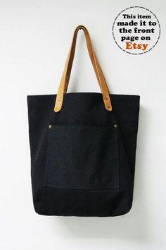 Leathinity - Black Canvas Tote Bag w/ Genuine Leather Handles - Eco Friendly. $64.99, via Etsy.