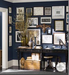 Pottery Barn Fall 2013 - love the dark walls with the white trim and frames.