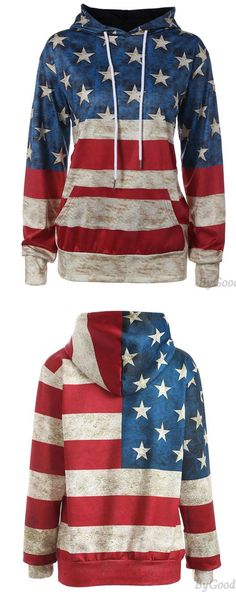 ea97db5a058c Retro USA Flag Stars Stripe Hooded Jacket Ladies Casual Pullover Sweater  for big sale!