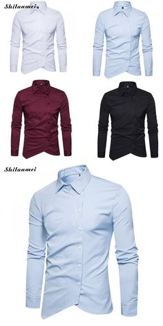 Male Social Shirt White Blue Slim Fit Men Shirts Black Asymmetry Single Breasted Men's Brand Shirt Autumn Casual Mens Clothes