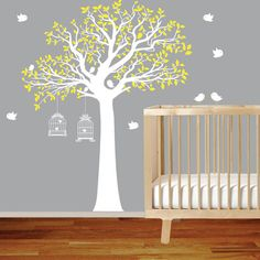Vinyl Wall Decal Stickers Bird Yellow Tree Set Nursery Wall Sticker with bird cage