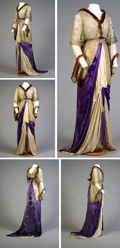 Evening dress, American, ca. 1912. Silver net lace over blue chiffon, white satin underskirt, mink trim, and purple satin-grounded velvet flowers. Asymmetrical drape, high waist caught with silver braid, middy-style collar, pagoda chiffon sleeves underneath lace half-sleeves. Slit skirt with pleated chiffon and mink inset with tassel. Purple satin drapes from waist to neck in back with tassel. Train. Kent State Univ. Museum & KSU Museum Pinterest