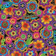 Over the Rainbow Laurel Burch Dogs & Doggies Y1801 36M Orange Flowers Metallic