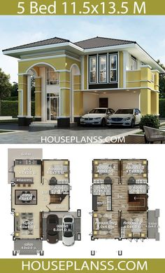 House design Plans Idea with 5 bedrooms - Home Ideas - House design P. - House design Plans Idea with 5 bedrooms – Home Ideas – House design Plans Idea - 5 Bedroom House Plans, House Plans Mansion, My House Plans, House Layout Plans, Duplex House Plans, House Layouts, Two Story House Design, 2 Storey House Design, Classic House Design
