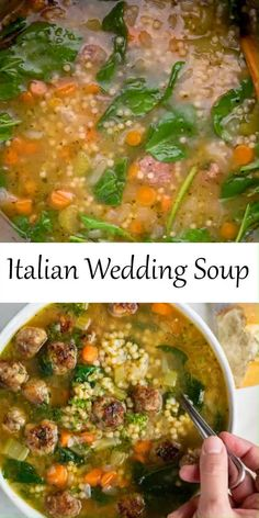 Healthy Crockpot Recipes, Cooking Recipes, Italian Wedding Soup Recipe, Slow Cooker Soup, Soup And Salad, Italian Recipes, Dessert, Meal Planning, Autumn Soup