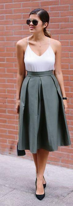 Diy Pleated Midi Skirt Outfit Idea
