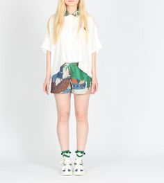 Neverland collection little town and forest summer party blue green floral shorts and skirt by PurpleFishBowl2 on Etsy https://www.etsy.com/listing/189661576/neverland-collection-little-town-and
