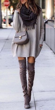 #fall #outfits women's gray long sleeve dress and pair of brown knee-high boots
