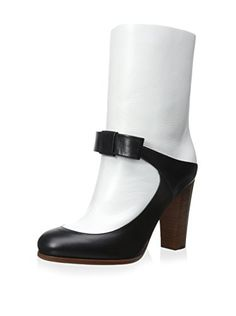 www.myhabit.com  Tantalizing two-tone boot with contrasting leather overlays, bow detail, wide stacked heel