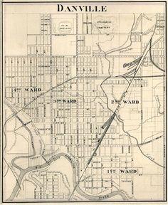 Danville Illinois Vermillion Co IL 1876 Map Genealogy