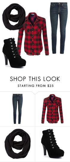 """""""Red Plaid"""" by sarahannejohnson ❤ liked on Polyvore featuring Yves Saint Laurent and John Lewis"""