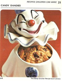 Betty, what is wrong with you?  Kids do not like clowns.  Kids are not going to stick their hands down a statue of Captain Scary just to get a cookie.  You have failed.