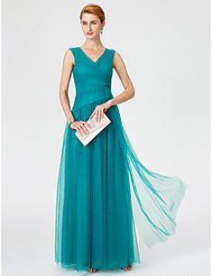 12dae595c0 Hercegnő V-nyakkivágás Földig érő Tüll Örömanya ruha - Cakkos Ráncolt által LAN  TING BRIDE