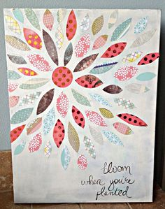 How to make a paper flower canvas painting with scrapbook paper from me & my BIG ideas.