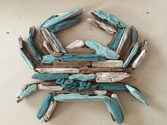 Painted Driftwood Crab – Made to Order – Upcycled Beach Decor, Jersey Shore, Nautical, Wall Decor, D – Home Design Arts Driftwood Sculpture, Driftwood Art, Driftwood Beach, Driftwood Mobile, Driftwood Furniture, Seashell Crafts, Beach Crafts, Summer Crafts, Painted Driftwood