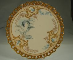 Pirkenhammer Plate Hand Painted Cupid Raised Gold Reticulated