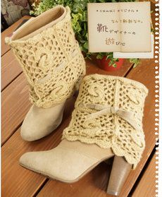 find a pair of boots to do this to.cut a scarf in half and attach to a bootie? to their -crochet ideas and tips- postboard via the Juxtapost bookmarklet. Crochet Leg Warmers, Crochet Boot Cuffs, Crochet Boots, Crochet Slippers, Crochet Clothes, Knit Crochet, Tongs Crochet, Shoe Refashion, Boot Jewelry