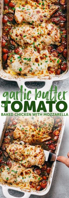 Lower Excess Fat Rooster Recipes That Basically Prime Garlic Butter Tomato Baked Chicken - An Easy One Dish Recipe That Requires Only A Handful Of Simple Ingredients Easy To Prep And Ready In No Time Mozzarella Chicken, Cooking Recipes, Healthy Recipes, Cooking Fish, Easy Recipes, Dip Recipes, Light Recipes, Crockpot Recipes, Food Dishes