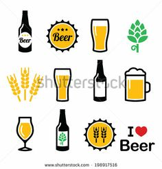 Beer colorful vector icons set - bottle, glass, pint   by RedKoala