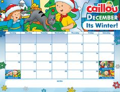 Printable Caillou Calendar – December 2016