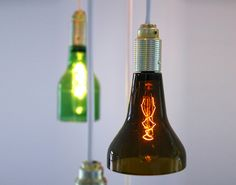 Beer Bottle Lights.  I want to make these with flip-top beer bottles.
