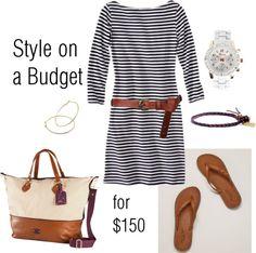 """Striped Dress"" by bluehydrangea on Polyvore"