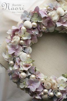 Hydrangea wreath with pearls and seashells
