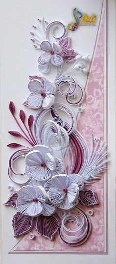 Neli Quilling Art: Quilling card - flowers ( 9 cm - 20 cm )