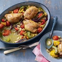 One pot chicken supper with pesto, cannelloni beans and orzo. So delicious.