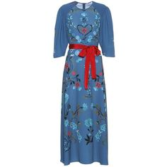 REDValentino Printed Midi Dress (86.535 RUB) ❤ liked on Polyvore featuring dresses, blue, red valentino, blue color dress, red valentino dress, mid calf dresses and midi day dresses