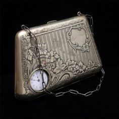 German Silver Ornate Carry-All Evening Purse Vintage