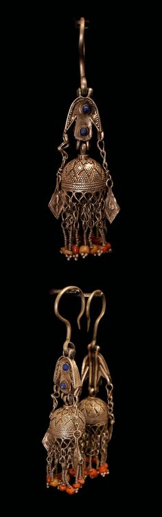 Central Asia | Pair of Kirghiz earrings; silver and coral | 350€