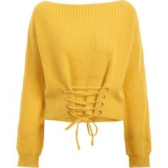 Boat Neck Lace Up Sweater Yellow (1.775 RUB) ❤ liked on Polyvore featuring tops, sweaters, boatneck tops, lace tie up top, boatneck sweater, lace up front sweater and lace up top