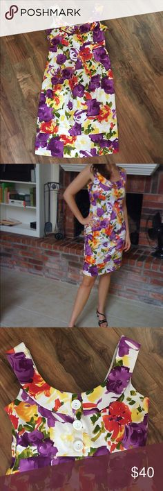 fun floral dress Brightly colored floral, knee length, 3 white decorative buttons on back of dress, fully lined dress. 97% cotton, 3% spandex ( perfectly forgiving) - perfect for your spring and summer afternoon wedding invite. new directions Dresses Midi