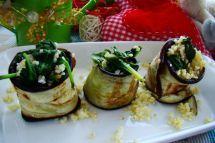 Roladki z bakłażana z nadzieniem z kaszy jaglanej i szpinaku