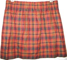 J CREW Pleated Mini Skirt Tartan Plaid Wool City Paperbag Elastic High Waist 6 #JCrew #Mini