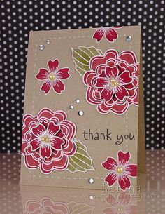 Kraft Floral Card...gorgeous!!!...images heat embossed in white and colored with Copics...