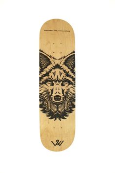 """fox"" Laser Engraved Canadian Maple Skateboard by WonderlandCollective"
