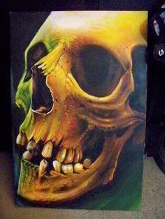skull by Redbaxter on DeviantArt Skeleton Drawings, Skeleton Art, Art Drawings, Skull Artwork, Skull Painting, Weird Tattoos, Skull Tattoos, Crane, Airbrush Skull