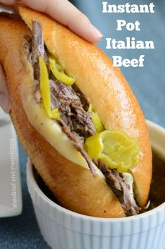 instant pot recipes Instant Pot Italian Beef Sandwiches -- quick and easy recipe for Italian beef with pepperoncini peppers. Recipe uses no seasoning packets but makes the best hot dip beef in a little more than 1 hour! Italian Roast Beef, Italian Beef Recipes, Italian Meatloaf, Crockpot Italian Beef, Italian Beef Seasoning Recipe, Recipes With Beef Roast, Meals With Beef, Shredded Beef Recipes, Chuck Roast Recipes