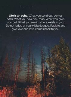 Life is an echo. What you send out, comes back. What you sow, you will reap. What you give, you get. What you see in others , exists in you. Do not judge or you will be judged. Radiate and give love and love comes back to you.""