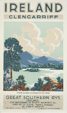 BLAND, G H  GLENGARRIFF  lithograph in colours, printed by Hely's Limited, Dublin, condition A-  40 x 24in. (102 x 62cm.)