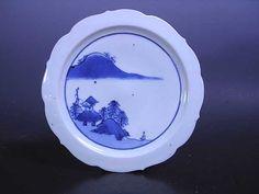 藍九谷 山水紋輪花鍔型五寸五分皿 裏銘二重角福
