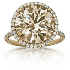 """Champaign Brillianc-Cut Diamond Ring with White Diamond Halo and """"String"""" Shank with Diamond Pave 