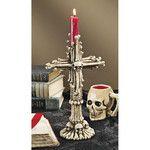Shadow of Doom Skull and Bones Sculptural Candlestick
