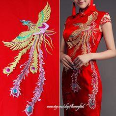Large Phoenix Applique, Golden Phoenix Red background Blue Gold Clouds Embroidery Appliques Patch for Dress, Costume Design