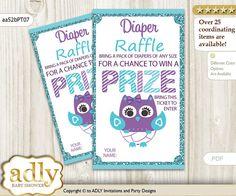 Girl Owl Diaper Raffle Tickets Printable for Baby Girl Shower DIY Teal Purple Chevron-aa52bPT7