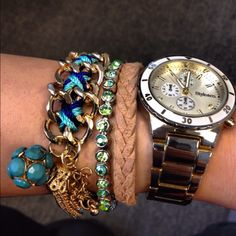 bracelets with watches. love!